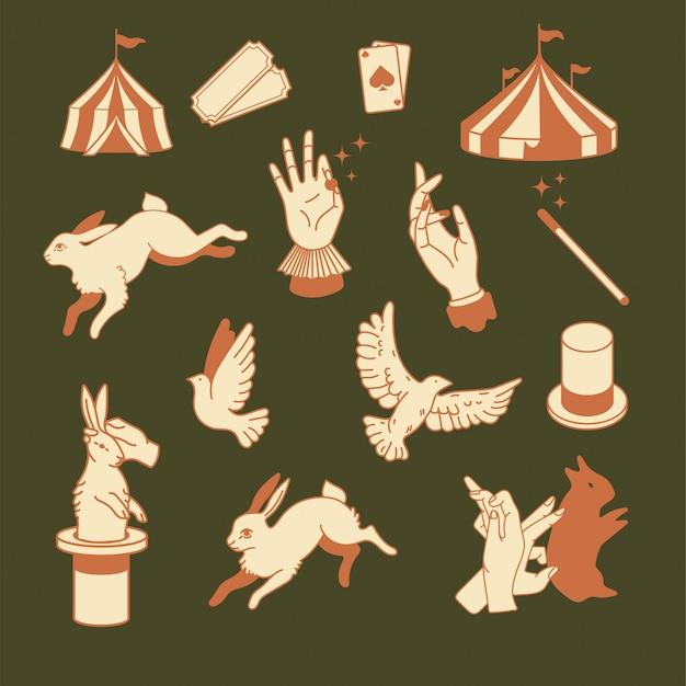 서커스 아이콘 빈티지 플랫 디자인 일러스트 그래픽 디자인을위한 요소입니다. 로고 자산. 마술 출연자, 마술사, 마술사, 아티스트, 쇼맨 브랜딩. 마술 모자, 비둘기, 새에서 토끼를 당겨