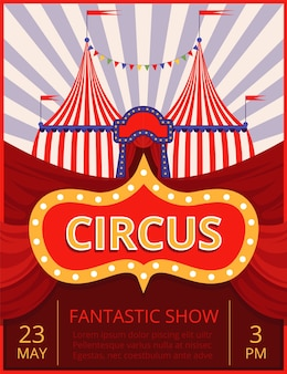 Circus invitation. festival or party event poster template with stripe tent.