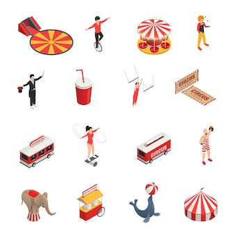 Circus isometric set of manege juggler clown acrobat trained animals tickets cola carousel decorative icons