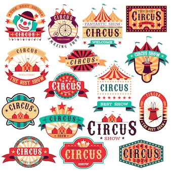 Circus labels. vintage carnival show, circus signboard. entertaining event festival. paper invitation banner, arrow  stickers