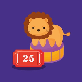 Circus lion and ticket