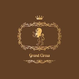 Цирк дизайн логотипа с винтажной рамкой
