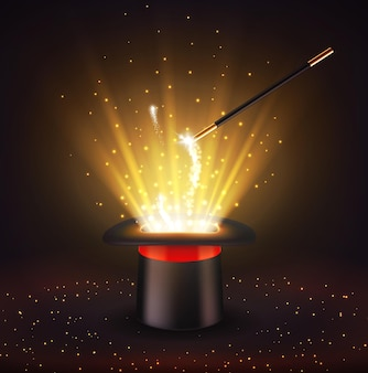 サーカスの魔術師の帽子と輝きのある魔法の杖