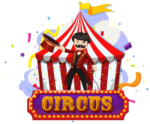 Circus magician an tent with sign isolated