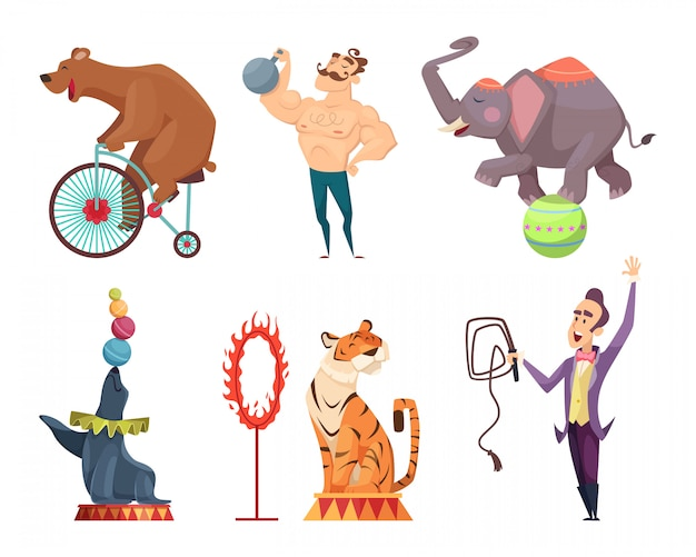 Circus mascots, performers, juggler and other characters of circus