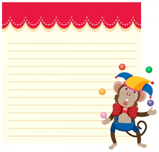 A circus monkey on note template