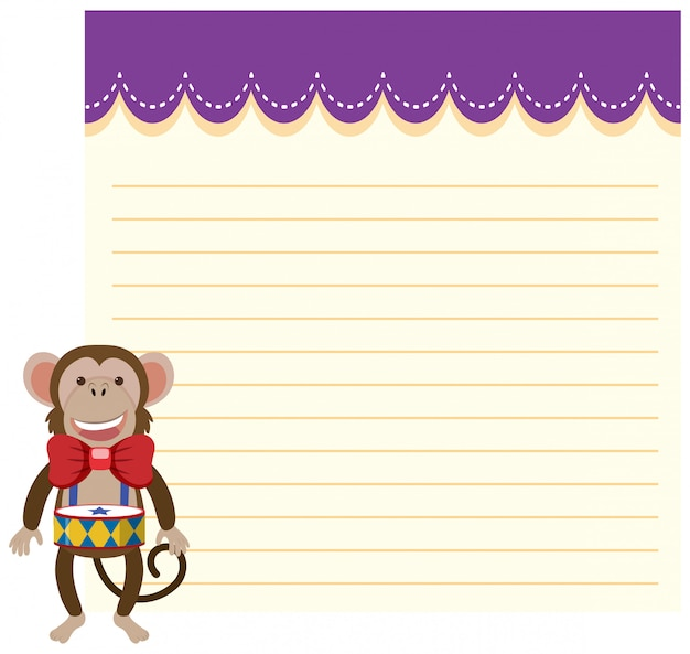 Circus monkey on note template