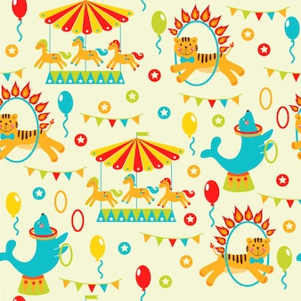 Circus party card design for kids vector illustration