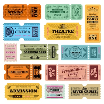 Circus, party and cinema vector vintage admission tickets templates