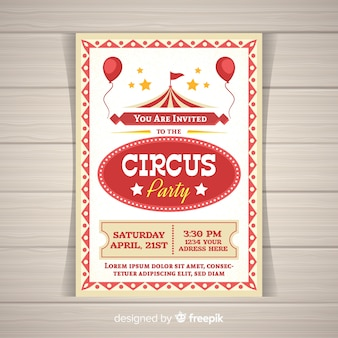 Circus party invitation card