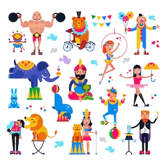 Circus people vector acrobat or clown and trained animals characters in circus-tent illustration set of magician and circusman with lion or elephant isolated on white