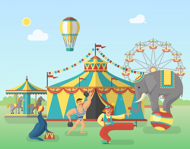 Circus performance in park illustration