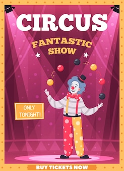 Circus performance poster with fantastic show