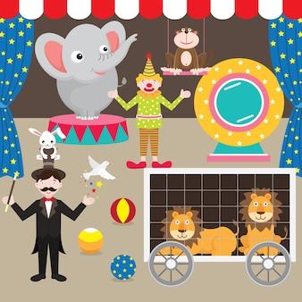 Circus performent elements set