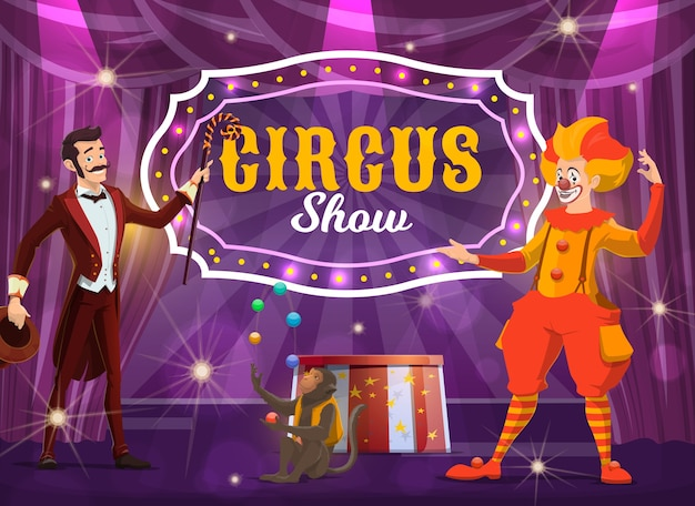 Circus performers on big top tent arena vector poster