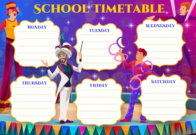 Circus performers of kids education timetable
