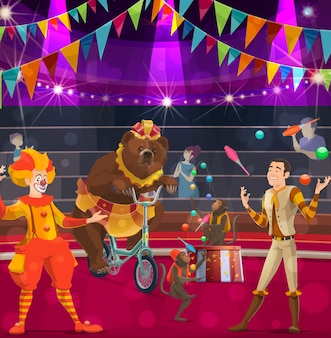 Circus performers vector poster with clown, bear on bike and tamer with juggling monkeys performing magical show on big top arena