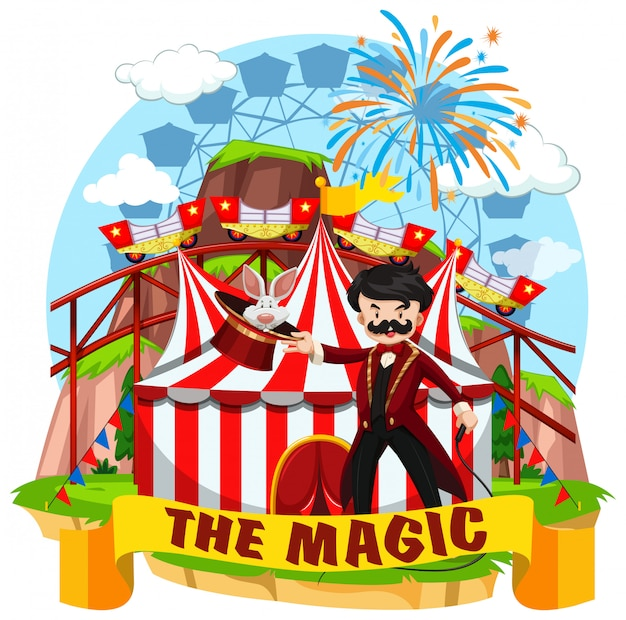 Circus scene with magician and rides