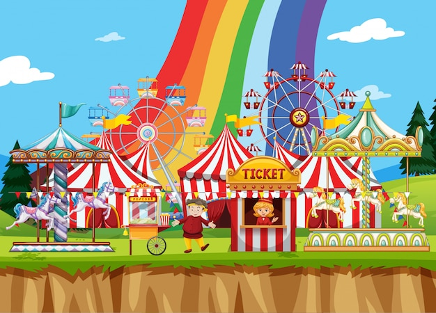 Circus scene with many rides at day time