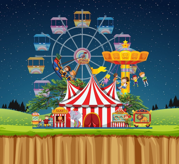 Circus scene with people on the rides at night