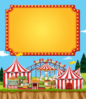 Circus scene with sign template in the sky