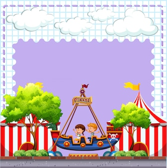 Circus scene with two children riding