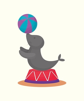 Circus seal with a ball
