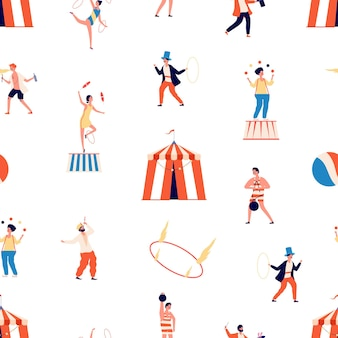 Circus seamless pattern. freak show. clown and magician, juggler and balancer and gymnast characters.