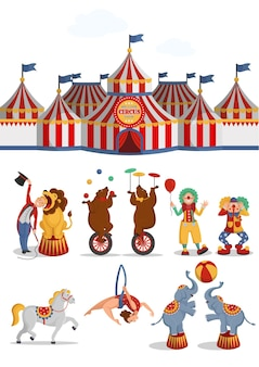 서커스 세트 : 텐트, 사자, 곰, 공중 곡예사, 광대, 말, 코끼리. 벡터 만화 일러스트 레이 션.