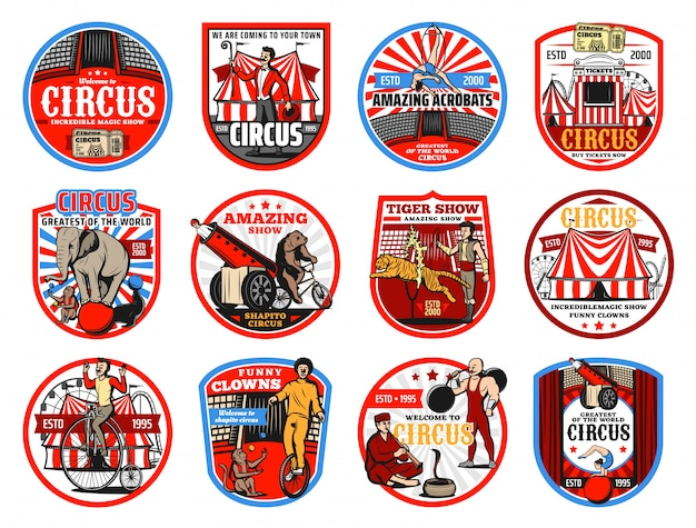 Circus shapito retro icons,  entertainment