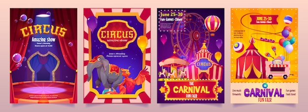 Circus show banners, big top tent carnival entertainment with elephant