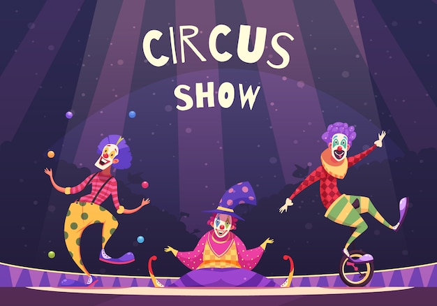 Circus show clowns illustration