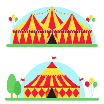 Circus show entertainment tent marquee outdoor festival with stripes flags carnival vector illustration.