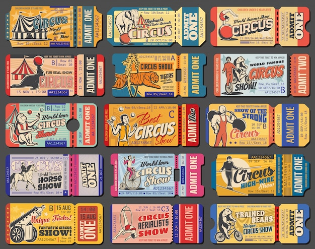 Circus show and funfair carnival retro tickets