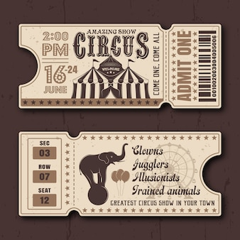 Circus show horizontal tickets front and back side vector templates in vintage style