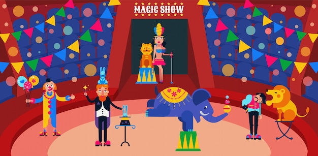 Circus show  illustration. circus artists performers at arena trainer, magician with hares, assistant, clown. wild animals lion, tiger, elephant.