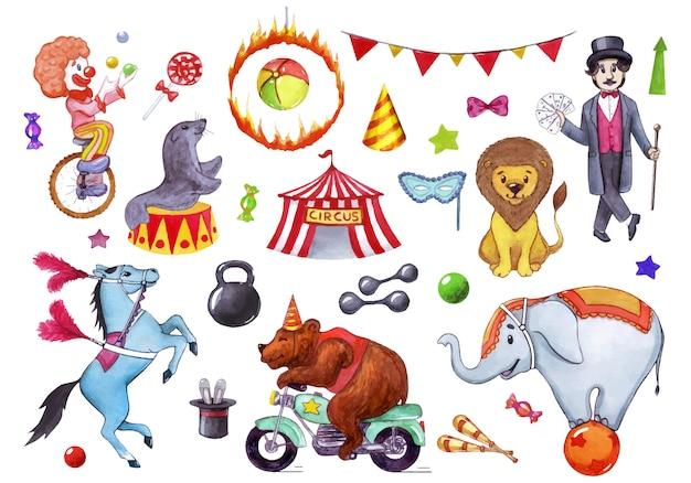Цирк, шоу, спектакль. акварельные иллюстрации набор элементов.