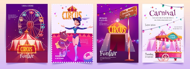 Circus show placards set