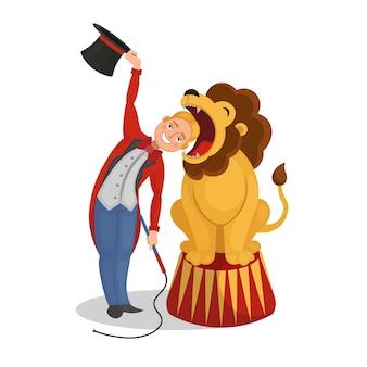 サーカスショー。飼いならされた人は頭をライオンの口に入れました。漫画のベクトルイラスト。