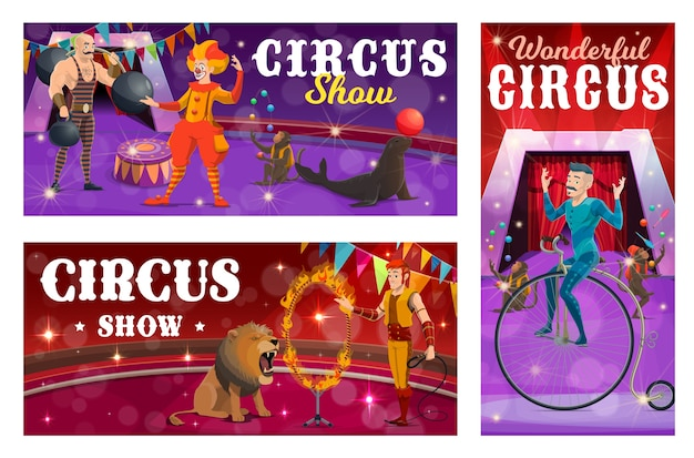 Circus show vector banners with strongman, clown, tamer and retro bicycle rider characters