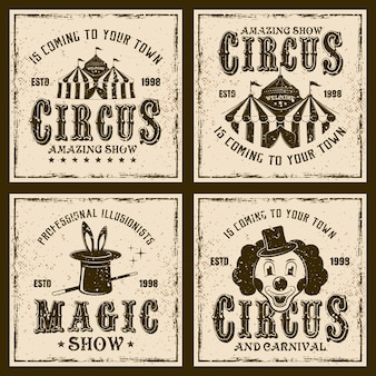 Circus show vintage emblems or prints on background with grunge textures