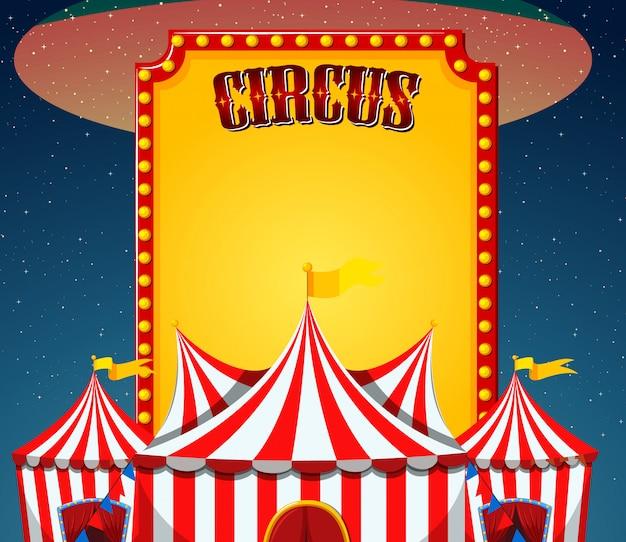 Modello del segno del circo con le tende di circo dentro