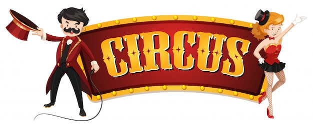 Circus sign template with man and woman