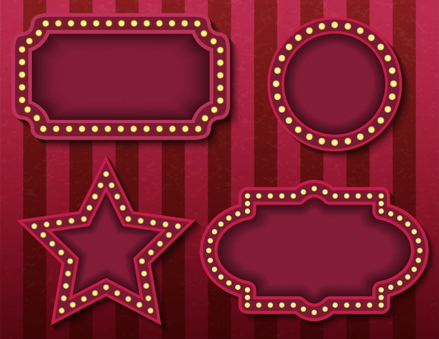 Circus signboards.   stock brightly glowing retro cinema neon signs banners. circus style evening show banner templates. background   poster images