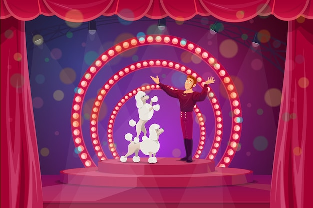 Circus stage with big top tent performers tamer and trained dogs.  trainer artist character performing tricks with poodles on scene with red backstage and spotlights.  circus performance