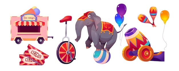 Circus stuff and elephant on ball, big top tent