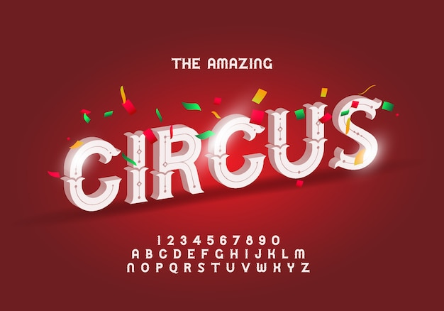 Circus style modern font, alphabet letters and numbers