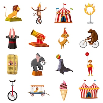 Circus symbols icons set, cartoon style