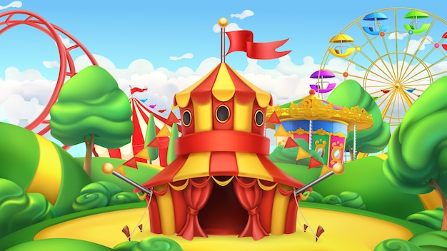 Circus tent. amusement park.