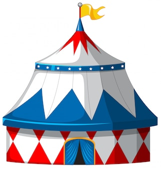 Circus tent in blue and white